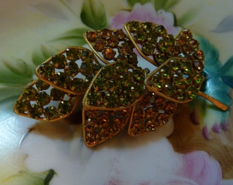 Gorgeous Glitzy Rhinestone Juicy Large Vintage Leaves Alice Caviness rare Brooch