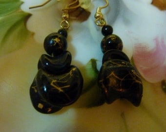 Interesting Vintage Atomic Eames Era Space Age Earrings Black with Gold Flecked Pierced 1960's