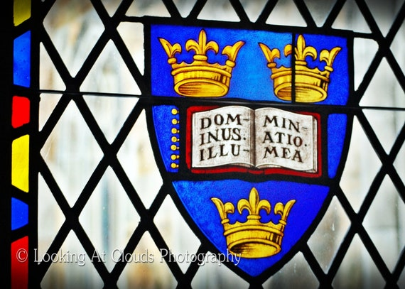 Sewanee window, stained glass with three crowns art photo, All Saints' Church, Latin quote  'Illuminate Me'