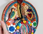 Our Lady of Guadalupe Mexican Folk art wood assemblage. Virgen Guadalupe themed tin and heaps of detail. Stunning, colorful bright wall art