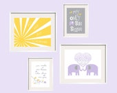 You Are My Sunshine Wall Art Prints, in Purple, Yellow and Grey  for girl or boy 8x10 and 5x7 (ES2EPYG-01)