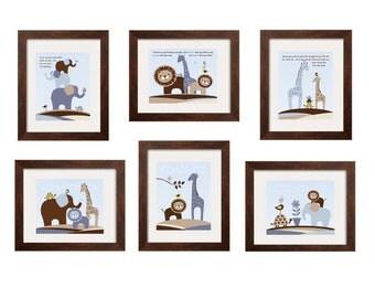 Boys Wall Art- Boys room decor Animal nursery Elephant giraffe lion turtle bird set of 6 prints with Quotes 8x10 First We Had Each Other