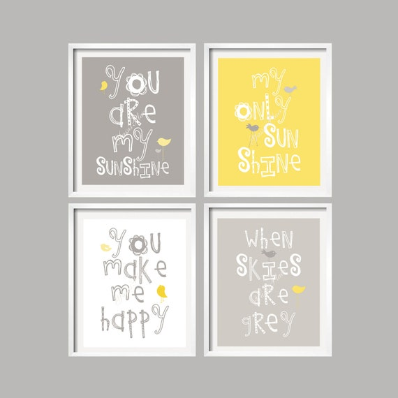 Yellow And Grey Wall Art yellow and gray art prints you are my sunshine nursery wall