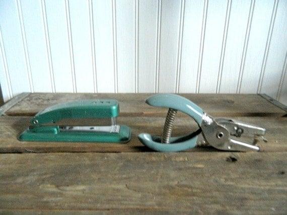 Vintage Office Decor Stapler Hole Puncher Swingline Cub