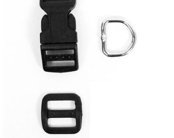 """5 Sets - 5/8"""" (16mm) Dog Collar Hardware Kits - (15 pieces) - Buckles, D-Rings, Wide-Mouth Triglides"""