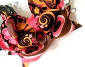 Girls Boutique Layered Hair Bow - Pink and Brown Floral Print - Pink, Brown, Orange, Flowers, Back to School