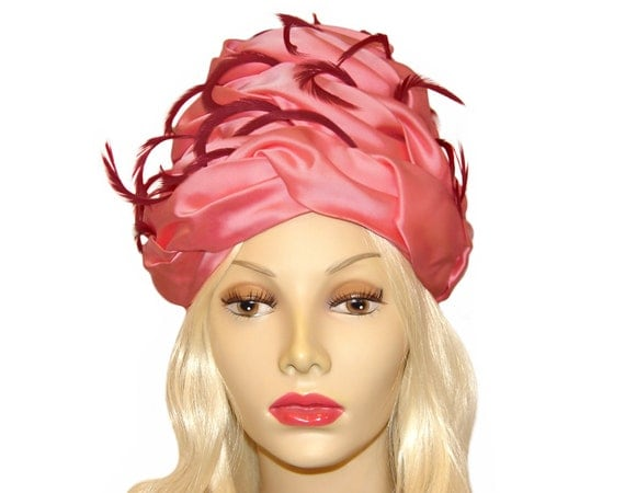 RESERVED FOR NADIA Christian Dior Hat, Pink Satin and Feathers, Antique Hat Pin, Rare, Collectible, Vintage 1960s