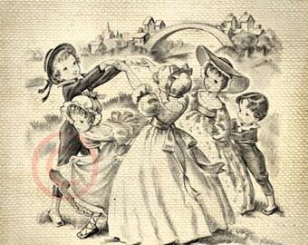 Adorable Vintage Children Playing LARGE Digital Vintage Image Download Sheet Transfer To Totes Pillows Tea Towels T-Shirts