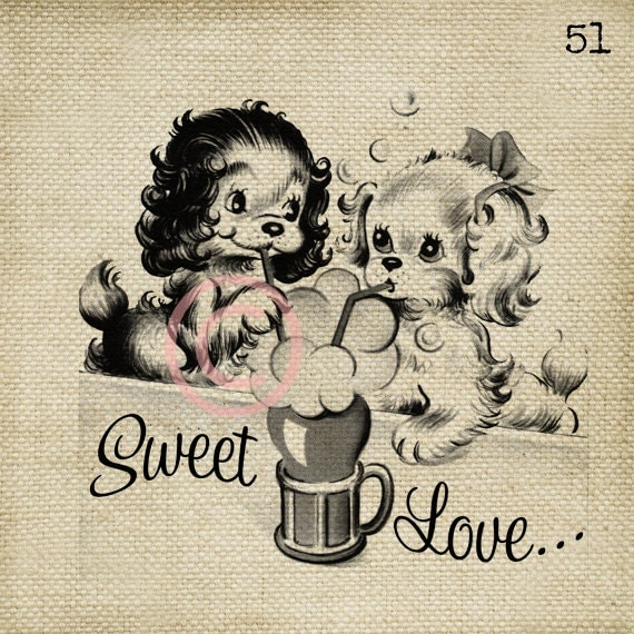 Sweet Love LARGE Digital Vintage Image Download Sheet Transfer To Totes Pillows Tea Towels T-Shirts