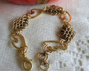 Dragonscale Gold and Bronze Heart Link Bracelet