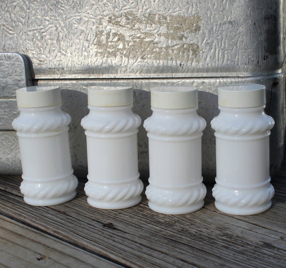 Four Milk Glass Spice Jars, Bottles