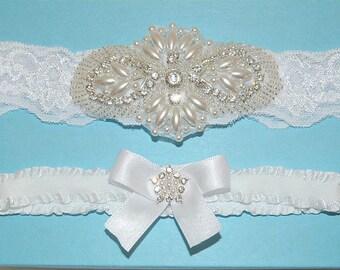 White Wedding Garter Set, White Stretch Lace Bridal Garter Set, Heirloom Rhinestone And Pearl Garters, Crystal Garters - Ready To Ship