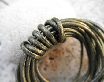 By the Yard - 2mm - Round Leather Cord  -  Metallic Gauriya