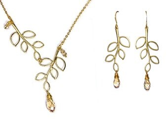 Leafy branch earrings and necklace in gold with faceted crystal briolette (Swarovski)