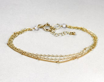 Petwa Triple Gold Filled or Sterling Silver Chain. Layering Bracelet with Freshwater Pearl Accents.