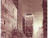 "Wine Painting - ""Beautiful City Walk"""