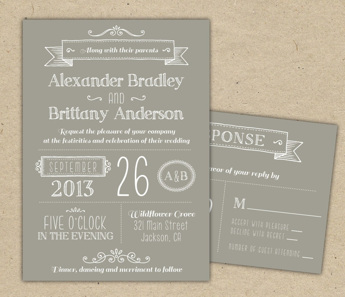 Wedding Invitation. Modern Invitation Template. DIY By