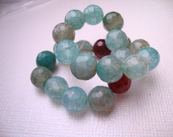 """Blue Agate Faceted Round Beads 8MM - 7"""" Strand"""