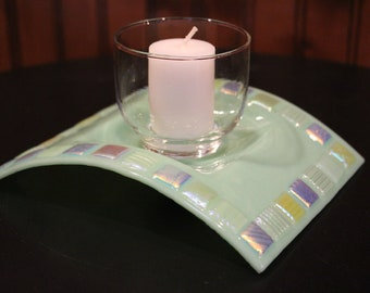 Fused Stained Glass Candle Bridge with Dichroic Accents
