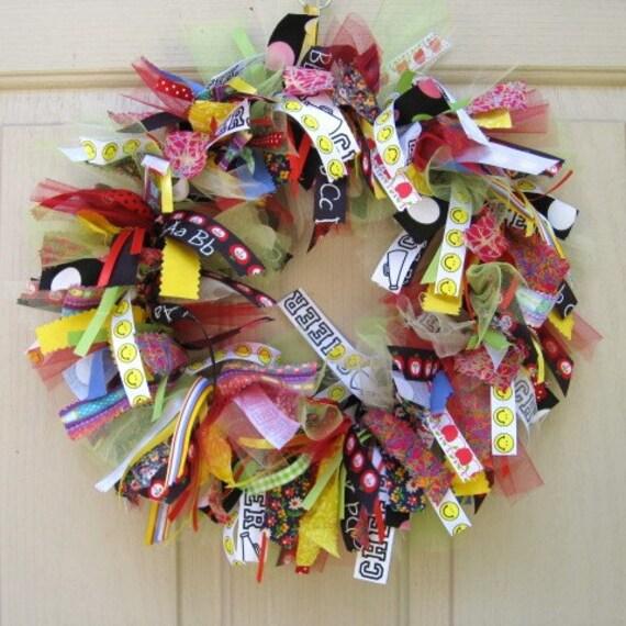 Back to School Wreath, Teacher Classroom Wreath, School Teacher Gift, Teacher Appreciation, Fall Wreath
