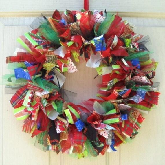 Christmas Wreath Holiday Wreath Ribbon Wreath Fabric Wreath