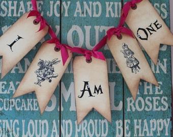 Vintage Inspired Alice in Wonderland Banner - I Am (age)