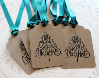 Vintage Inspired Holiday Gift Tags - Merry Christmas Tree - Set of 8