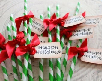 Holiday Swizzle Straws and Tags - Set of 12 - Happy Holidays