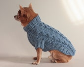 Ice, Ice, Ice Blue Honeycomb Cables, Chihuahua Sweater,  XXS