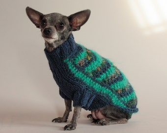 Jade and Navy,  XS Chevron Dog Sweater
