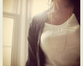 Along the way (necklace) - Long layer, white Swarovski pearl, sterling silver bar and chain