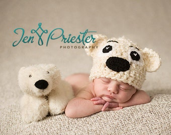 Baby bear hat, Newborn Teddy-Bear hat, Baby polar bear hat  - Photo prop