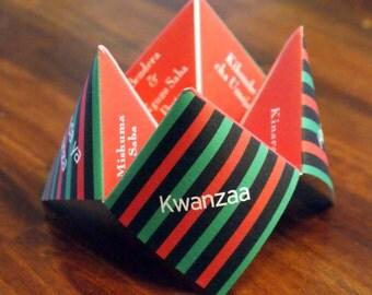 Kwanzaa Cootie Catcher, Kwanzaa Decoration, Happy Kwanza, Kwanza, Kwanzaa Card, Favor, Holiday, Game, Party, DIY, Printable, Invitation