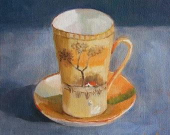 Vintage Coffee Cup Painting