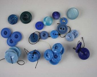 Vintage Sky Blue Plastic Buttons