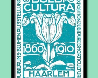 Postage  Stamp Print. Vintage Dutch Flower Show Turquoise 40 x 60 cms ( A2) Poster