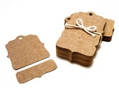 Perforated Hang Tags, 100 Small Bracket Kraft Price Tags - Blank with Tear Off Section - Boutique Swing Tag