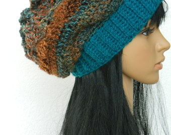 Slouchy Beanie Cloche Tams Berets Women Teens Adults Winter Hat In Teal Brown Multicolored.