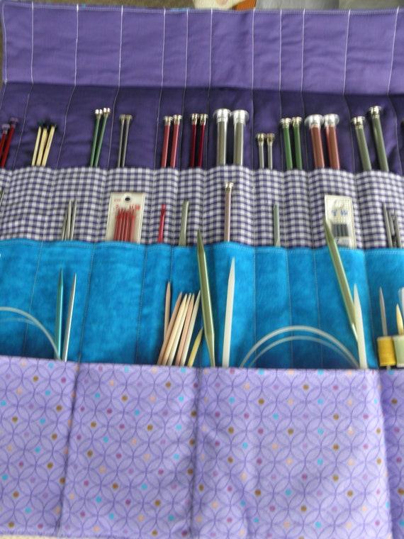Knitting Needle Organizer Pattern : Knitting Needle Organizer 30 Pockets Beautiful Purple