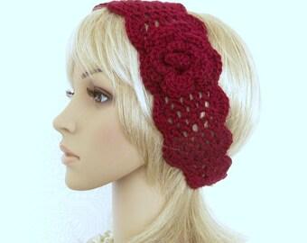 Trellis crochet headband, head wrap  - burgundy, burgandy - handmade women's accessories gift for her by Sandy Coastal Designs ready to ship