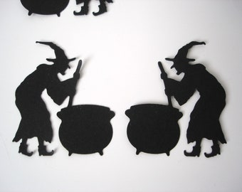 25 Halloween Black Witch and Cauldron die cut punch scrapbook embellishments - No578