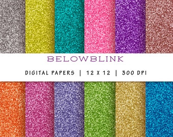 Glitter Digital Paper Pack, Scrapbook Papers, 12 jpg files 12 x 12 - Instant Download - DP172