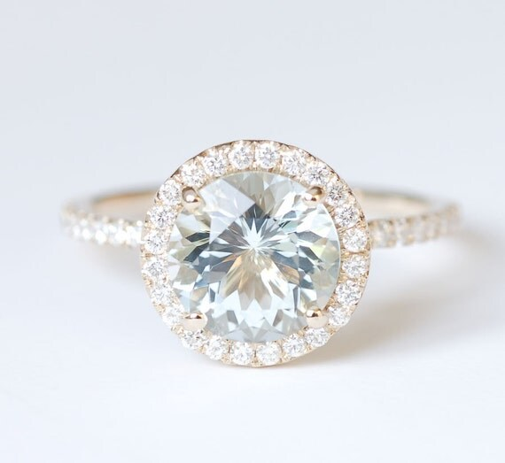 HOLIDAY SALE Aquamarine Diamond Halo Engagement Ring 14K