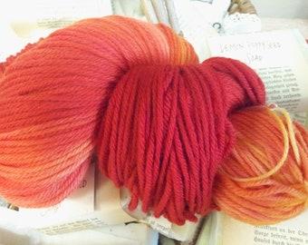 Burning Skein of Fire DK Weight Superwash Merino Wool Yarn