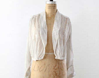 Edwardian blouse, 1900s white top, antique Welworth shirt