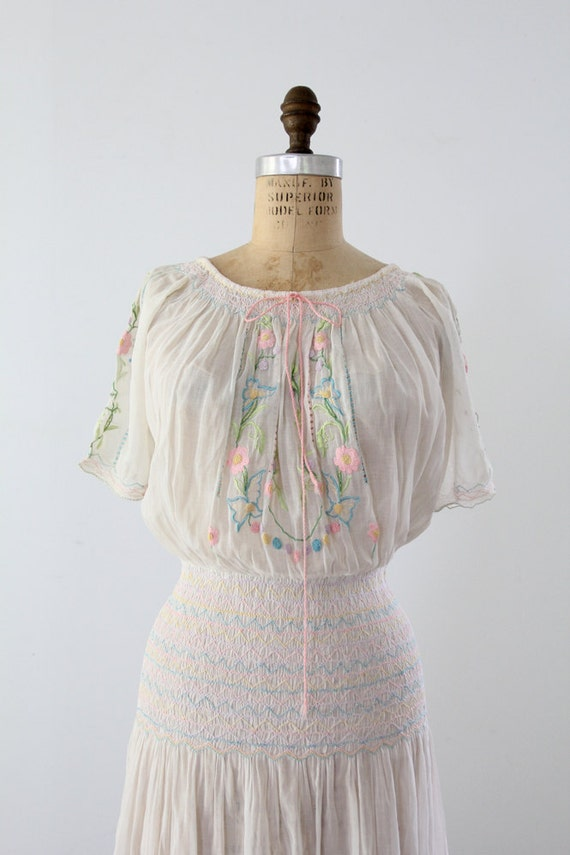 1920s Peasant Dress / Vintage Czech Embroidered Dress