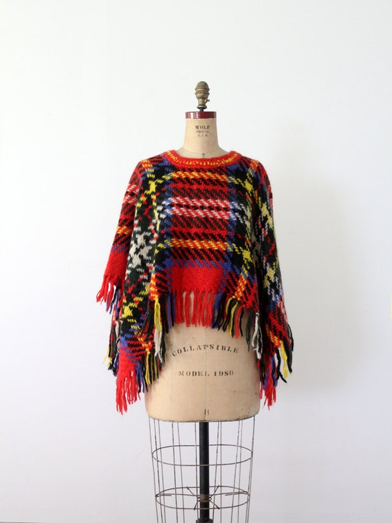 1960s Plaid Sweater / Vintage Poncho / The May Company