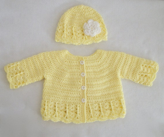 Crocheted Baby Girl Lacy Coat-Like Sweater and Hat Set in Lemon Yellow, 3M-6M