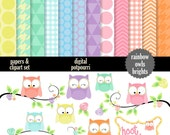 buy2get1 cute owls clipart and papers - 36 pc set - rainbow owls pastels