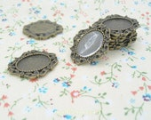 Antique Bronze Tiny Sash Charm Oval Base Blank Pad Fits for 10x14mm Cabochon - 2 pcs (S129)